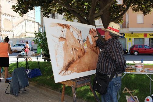 Antonio Darías pintando la obra ganadora