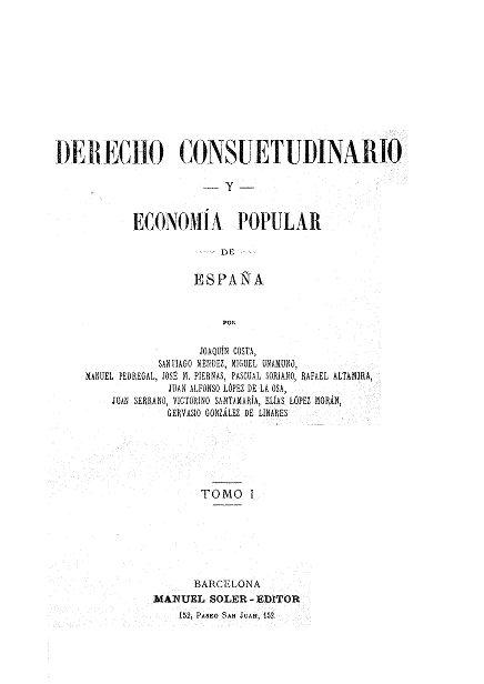 Portada de 'Derecho consuetudinario y economía popular de España' / foto BVDA