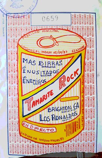 Entrada pel concert de Tamarit, 1987