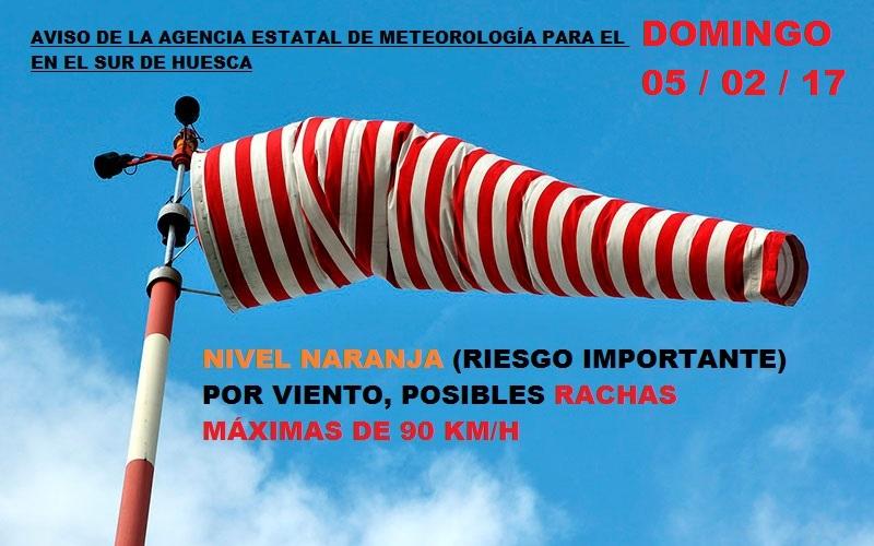Alerta de nivel naranja para el domingo en el sur de Huesca: viento con rachas de 90 km/h.