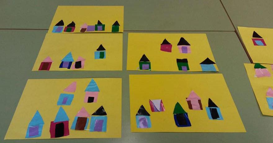 Varias obras de los alumnos de Infantil.