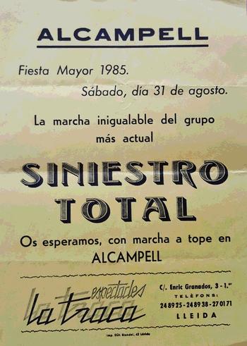 Octaveta Siniestro Total a Alcampell, 1985