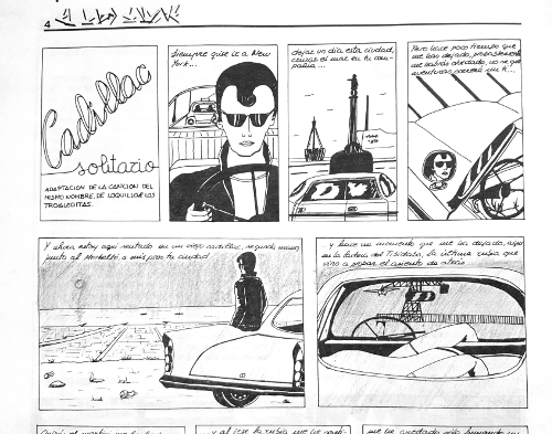Fragment del còmic basat en la cançó «Cadillac solitario», per Miguel A. Abadías, a 'El Lado Salvaje' (1984)