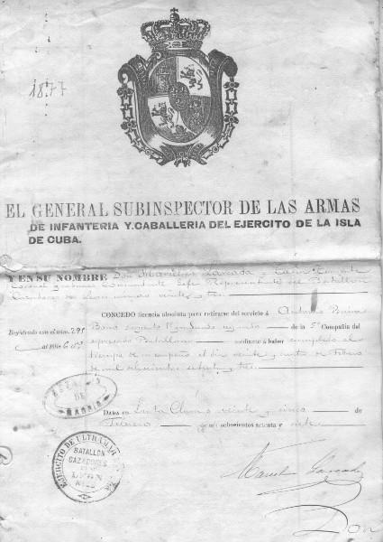 Documento de retiro de servicio de Antonio Buira Bría
