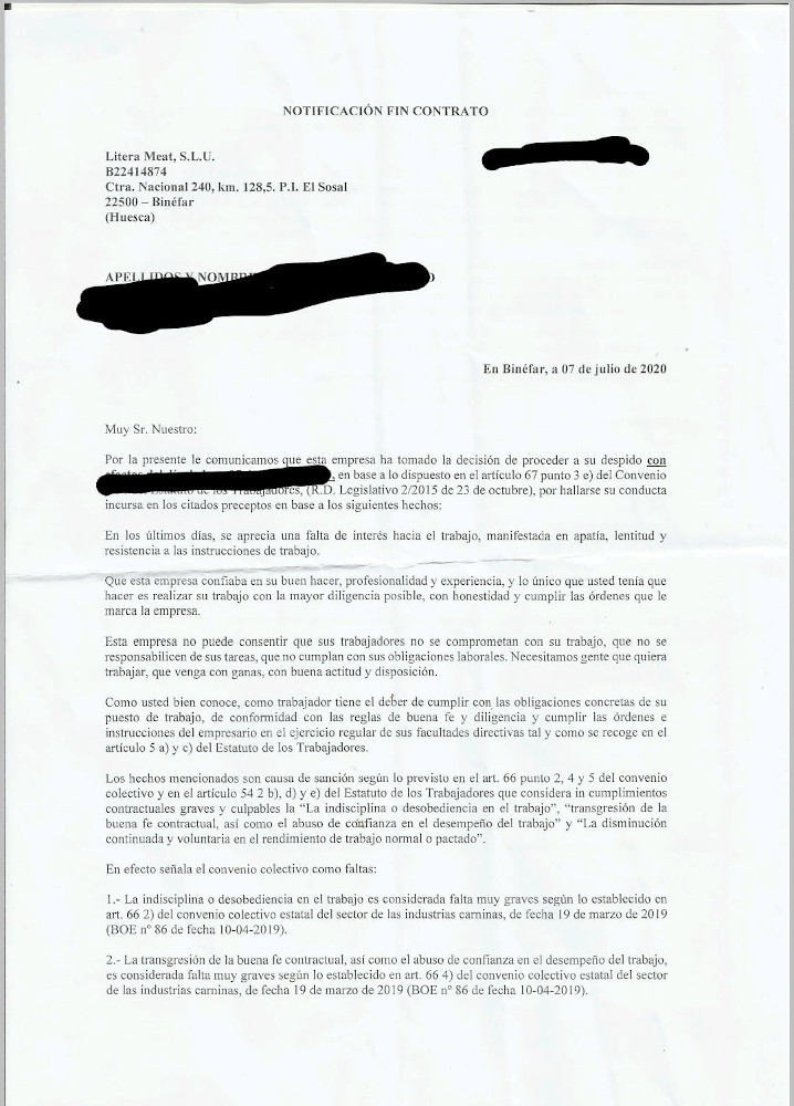 Carta de despido